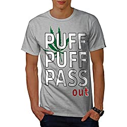 wellcoda Puff Gras Marihuana Rasta Männer T-Shirt, Ganja Grafikdesign gedruckt Tee
