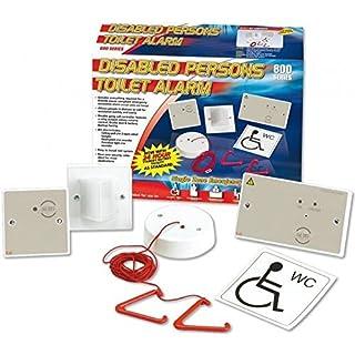 C-Tec NC951 Toiletten-Alarm, für behinderte Personen, Set mit Einzel-Zonensteuerung, Zugschnur, Türlicht mit Signal, Reset-Knopf, Behinderten-WC-Aufkleber