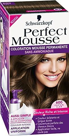Schwarzkopf - Perfect Mousse - Coloration Permanente - Châtain Clair 600