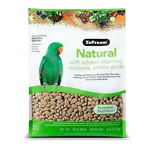 ZuPreem Natural Bird Diet Vitamin Minerals Medium Large Parrot Bird Food 3lbs