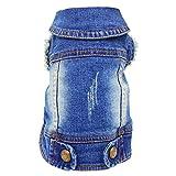 SILD - Chaqueta Vaquera con Capucha para Perros medianos y pequeños, diseño Vintage Desgastado, Color Azul (XXL)