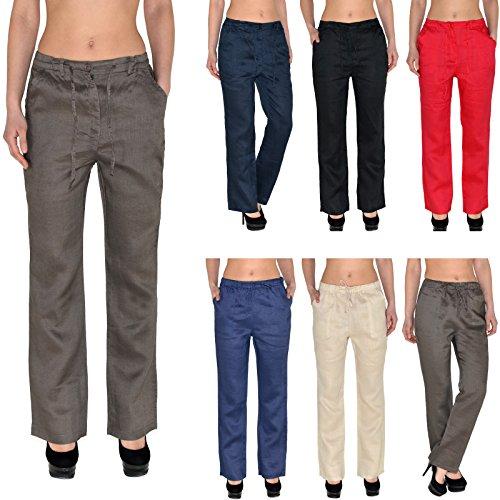 Femmes Pantalons de Lin Femmes Pantalons d'Été Femmes Pantalons de Loisirs Pantalon de Rélax H108 H105-bleu marin