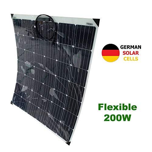Panel solar semi-flexible 200W 12V células alemanasPanel ideal para su autocaravana, caravana, barco, etc. Este panel solar de 12 voltios es lo suficientemente potente como para mantener su batería cargada durante largos períodos de tiempo sin arranc...