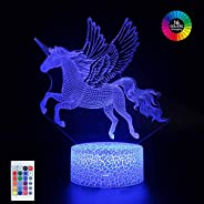 Unicorn Night Light,3D Optical Illusion LED Lamp for Kids, 16 Colors Change Function with Remote Control, Bedr
