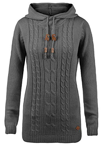 DESIRES Cable Damen Winter Strickpullover Troyer Grobstrick Pullover mit Kapuze, Größe:L, Farbe:Dark Grey (2890)