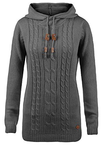 DESIRES Cable Damen Winter Strickpullover Troyer Grobstrick Pullover mit Kapuze, Größe:S, Farbe:Dark Grey (2890) Cable Knit Hoodie Pullover