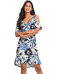 Janly® Womens Ladies Cut Out Cold Shoulder Floral Print Hanky Hem Top Maxi  Dress Plus 4bf17befdf49