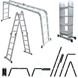 MAXCRAFT Multifunktionsleiter Mehrzweckleiter bis 150 kg Stehleiter 16 Stufen 6in1 Leiter Gelenkleiter Klappleiter aus Aluminium EN-131 geprüft - Länge 4,75 m - Modell 2016