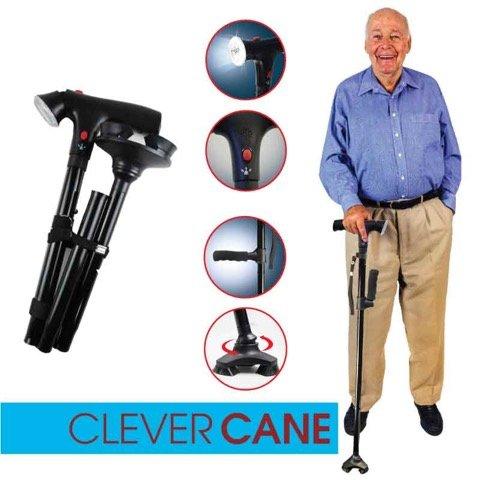 CLEAVER CANE bastone da passeggio richiudibile con luce a LED e allarme integrato VISTO IN TV bastone che sta in piedi da solo
