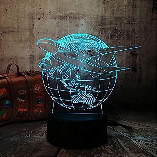 Luce Notturna 3D Lampara Lampada Da Notte Lampada Da Terra Piano Aereo Globo Terrestre 7 Cambio Colore Bambino Kid Lave Tavolo Scrivania Decor Halloween Natale Decorazioni Per Bamb