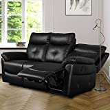 Leisure Zone Luxury PU Leather Sofa Recliner Set Loveseat Set Sofa Recliner Sofa Suite Lounge Couches Sets Armchair Available for Home Lounge Living Room (3 Seater)
