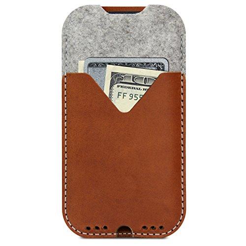 Pack & Smooch Für iPhone XS/X Hülle, Tasche -Kirkby- Hellbraun aus 100% Merino Wollfilz, Pflanzlich gegerbtes Leder, Made in Germany