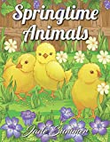 Springtime Animals: An Adult Coloring Book with Cute Baby Animals, Easy Spring Scenes, and Fun Flower Gardens for Relaxation