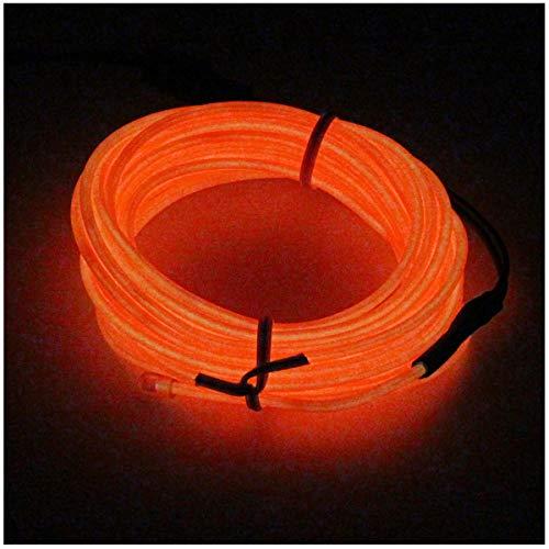 SZFC 5M(16,4ft) EL Wire Kabel Lichtschnur Band Lichtschlauch Leucht Schnüre Neon Draht Lichtband für Weihnachtsfeiern Disco Party Halloween Kostüm Kleidung +Batterie Box (Orange)
