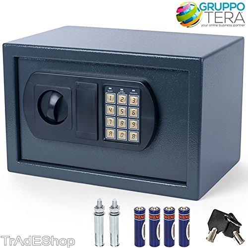 TradeShopTraesio® - CASSAFORTE A MURO NUMERICA DIGITALE ELETTRONICA 31X20X20CM SICUREZ. GRIGIO SCURO