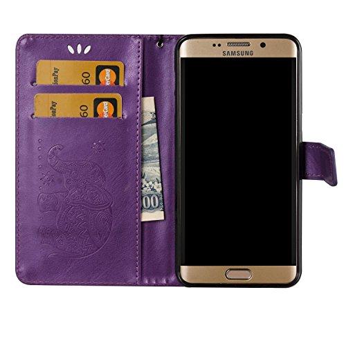 Für Samsung Galaxy S6 Edge Plus Premium Leder Schutzhülle, weiche PU / TPU geprägte Textur Horizontale Flip Stand Case Cover mit Lanyard & Card Cash Holder ( Color : Blue ) Purple