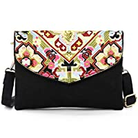 Embroidered Canvas Crossbody Bag, Multi-Pockets Flap Should Bag Cell Phone Purse Wallet Bags (C03: Size Bigger-Horizontal-Yellow)