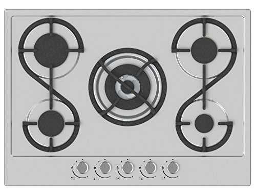 Hudson HTG5I Table Plaque de Cuisson 5 feux Gaz-HTG 5 I-à encaster-Design-En émail Inox Gris-très haute résistance (77 x 57 x 15 cm)