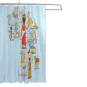 Mi Diario con Mapa de África cortina de ducha 66x 72inch, resistente al moho y poliéster resistente al agua–cortina de baño