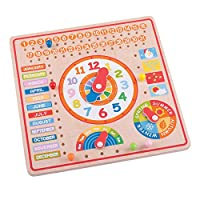Bigjigs Toys Educational Wooden Calendar and Clock