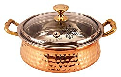 IndianArtVilla 5.0 X 9.2 Handmade Steel Copper Casserole With Glass Lid |2200 ML| - Serving Indian Food Home, Hotel, Restaurant, Tableware Gift Item