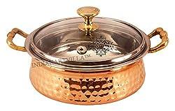 IndianArtVilla 5.0 X 9.2 Handmade Steel Copper Casserole With Glass Lid  2200 ML  - Serving Indian Food Home, Hotel, Restaurant, Tableware Gift Item