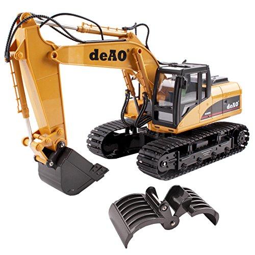 deAO RC Excavatrice – Camion Pelleteuse Télécommande Avec Extension Supplémentaire 2.4GHz Sync System Pour le Mode Multi Joueur