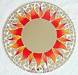 Wandspiegel Deko Spiegel Mosaik Einlegearbeit Handarbeit 50 cm rund Holz #42