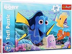 Puzzle - Lernpuzzle - Findet Dory - Findet Nemo - Findet Dorie - Maxi-Puzzle - 24 Teile. Dorie – der beliebte, vergessliche Doktorfisch - ziert mit seinen Freunden Nemo & Co dieses farbenfrohe Disney-Puzzle. Die Puzzleteile lassen sich durch ihre Größe gut greifen und die Bildausschnitte werden gut erkannt.