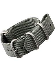 Bracelet de montre en nylon par ZULUDIVER®, Boucles ZULU brossées, Gris, 20mm
