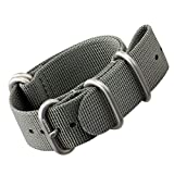 Nylon Watch Strap by ZULUDIVER®, Brushed ZULU Buckles, Grey, 22mm