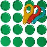 SchwabMarken 25 Einkaufswagenchips EKW Pfandmarken Wertmarken Farbe Grün, Randmarken + 3 Chiphalter für Schlüsselbund