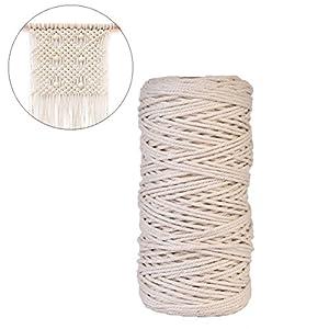 LianLe Baumwoll-Garn Baumwollschnur Makramee Wand Aufhängung Pflanze Aufhänger Basteln Stricken Seil natur Farbe 3mm