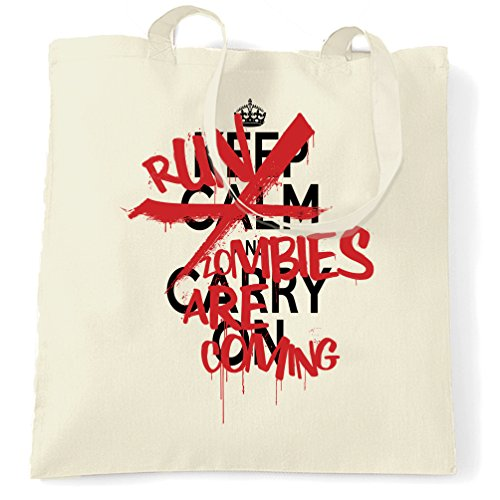 Halloween Tragetasche Keep Calm & Run, Zombies kommen, Natural One Size