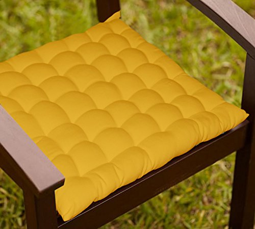 Lushomes Yellow Comfy Cotton Chair Cushion with 36 knots & 4 tie backs  available at amazon for Rs.499
