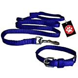 #8: Pawzone Nylon Leash With Collar Set For Puppy - Blue