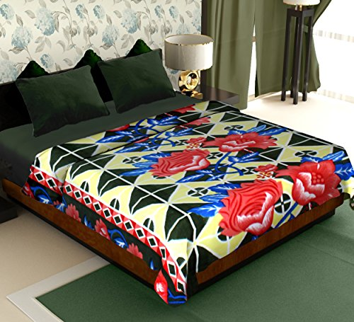 Story@Home Coral Collection Soft Printed Fleece Polyester Double Bed Blanket - Yellow  available at amazon for Rs.299