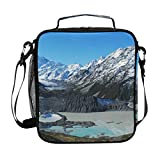 Mountains Glacier Snow Peak Lunch Bag with Zip Closure Insulated Lunch Box Tote