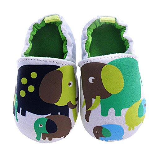 Amurleopard chaussures bebe souples coton unisex 0-12 mois vert elephant