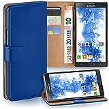 moex Samsung Galaxy Note 3 | Hülle Blau mit Karten-Fach 360° Book Klapp-Hülle Handytasche Kunst-Leder Handyhülle für Samsung Galaxy Note 3 Case Flip Cover Schutzhülle Tasche