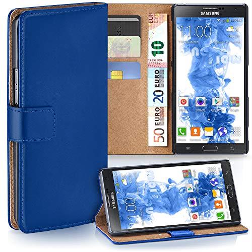 moex Samsung Galaxy Note 3   Hülle Blau mit Karten-Fach 360° Book Klapp-Hülle Handytasche Kunst-Leder Handyhülle für Samsung Galaxy Note 3 Case Flip Cover Schutzhülle Tasche