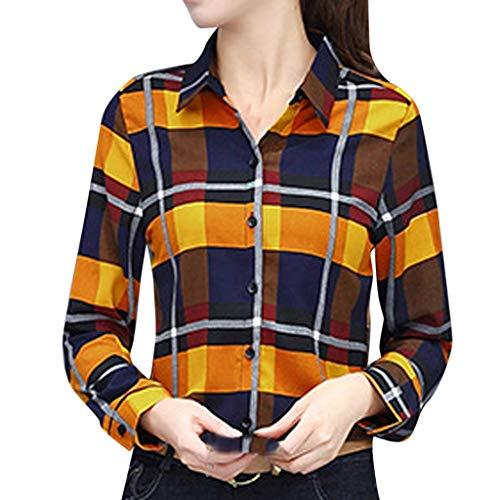 SEWORLD Oberteil Damen Lässige Mode Frauen Shirt Business Shirt Gitterdruck Langarm Revers Bluse Sweatshirt Top Pullover Freizeithemd Oberteile Hemdbluse Langarmbluse(Gelb,EU-42/CN-2XL) - Braune Streifen Schneiden