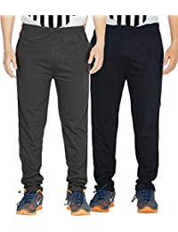 Yo Republic Mens Cotton Track Pant Combo Offer (Pack of 2)(AT-0418-1M_Carbon_Navy Blue_Medium)
