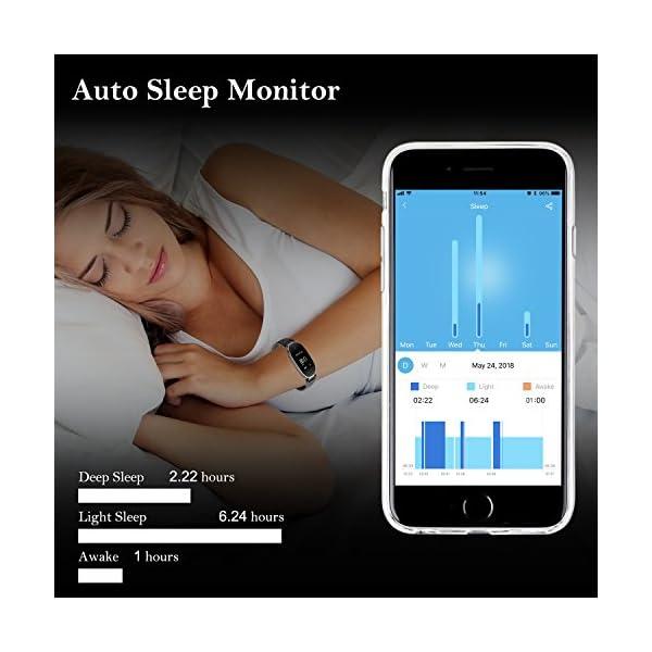 Pulsera Monitor de Actividad Pulsómetro y Podómetro para Mujeres Impermeable IP67, con Bluetooth Contador de Pasos y Monitor de Sueño para Smartphones con Android e iOS: iPhone, Samsung de WOWGO 5