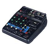 NOBLJX Mezclador estéreo para Equipos DJ Compacto de Canal Profesional Mesa de Mezclas con Amplificador de Efectos USB Bluetooth Ligero y portátil para Live Performance