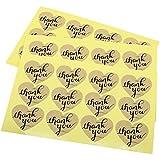 Hybsk (TM) gracias adhesivo de en forma de corazón de papel Kraft etiquetas embalaje sellos manualidades boda Favor etiqueta decoración set of 120