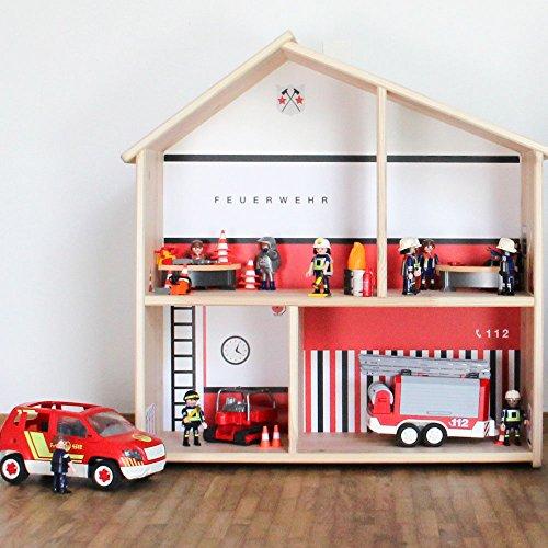 Preisvergleich Produktbild Limmaland Feuerwehr Aufkleber passend für IKEA FLISAT Holz Puppenhaus - Möbel Nicht inklusive