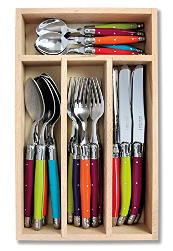 Laguiole 24pc Cutlery Set in Tray (Multi Coloured/Wild Flowers)
