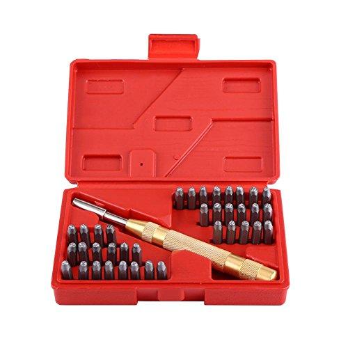 Buchstaben- und Zahlenstempel-Set, 38 Stück, Metall, Buchstaben und Zahlen, A-Z, Buchstabe 0-9, Zahlensymbolstanz-Set für Stanzmarkierung auf Metall, Holz, Leder etc. mit Tragetasche, 17 x 11 x 3,7 cm (Buchstaben X Stempel)