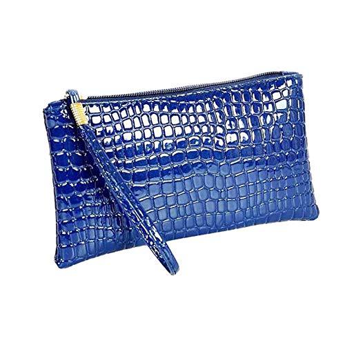 MEIbax Dame Krokodil Leder Clutch Handtasche Tasche Geldbörse Frauen Clutch Glitzer Elegant Abendtasche Handtasche (Blue)